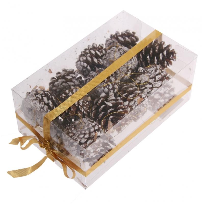 Kerststukje decoratie dennenappels bruin