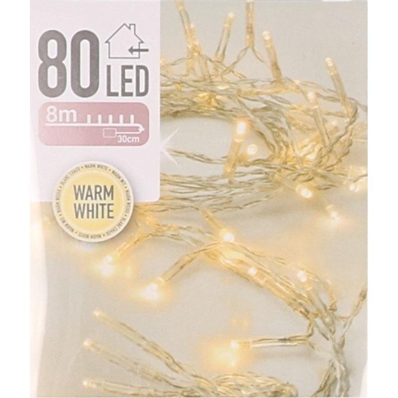 Kerstverlichting op batterij warm wit 80 lampjes