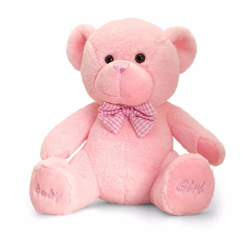 Knuffelberen roze geboorte meisje 25 cm