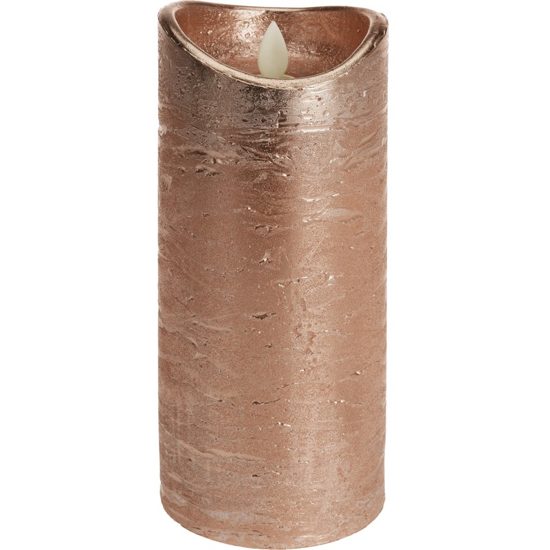 Koperen led kaars flikkerende vlam 20 cm