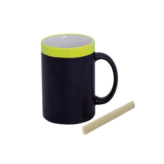 Krijt mok in het geel beschrijfbare koffie-thee mok-beker