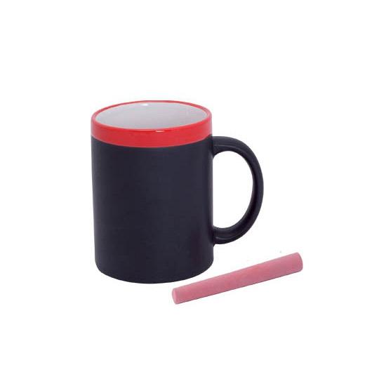 Krijt mok in het rood beschrijfbare koffie-thee mok-beker