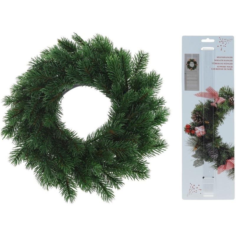 Kunst kerstkrans groen 35 cm met kranshanger