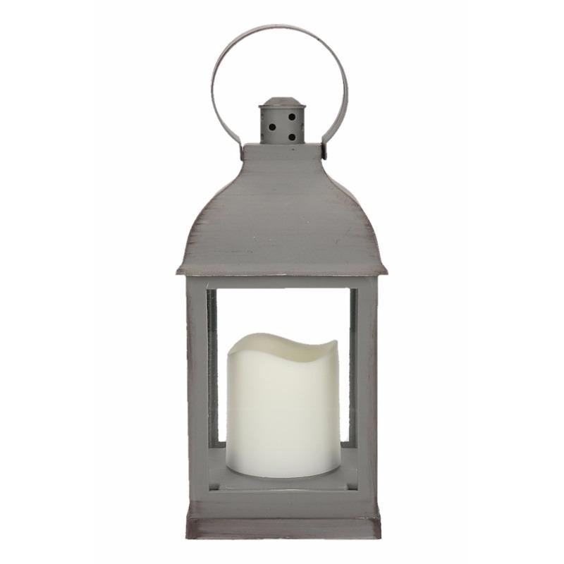 Lantaarn met LED kaars grijs 24 cm type 2
