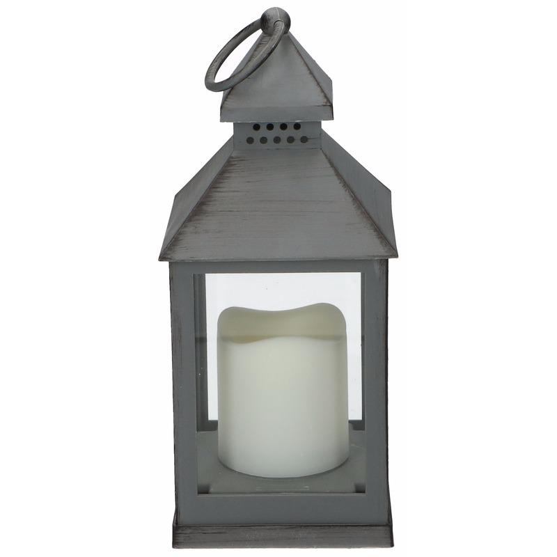 Lantaarn met LED kaars grijs 24 cm