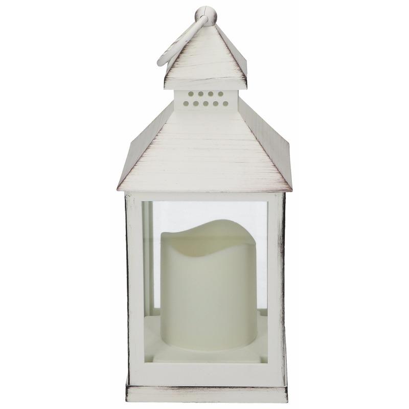 Lantaarn met LED kaars wit 24 cm