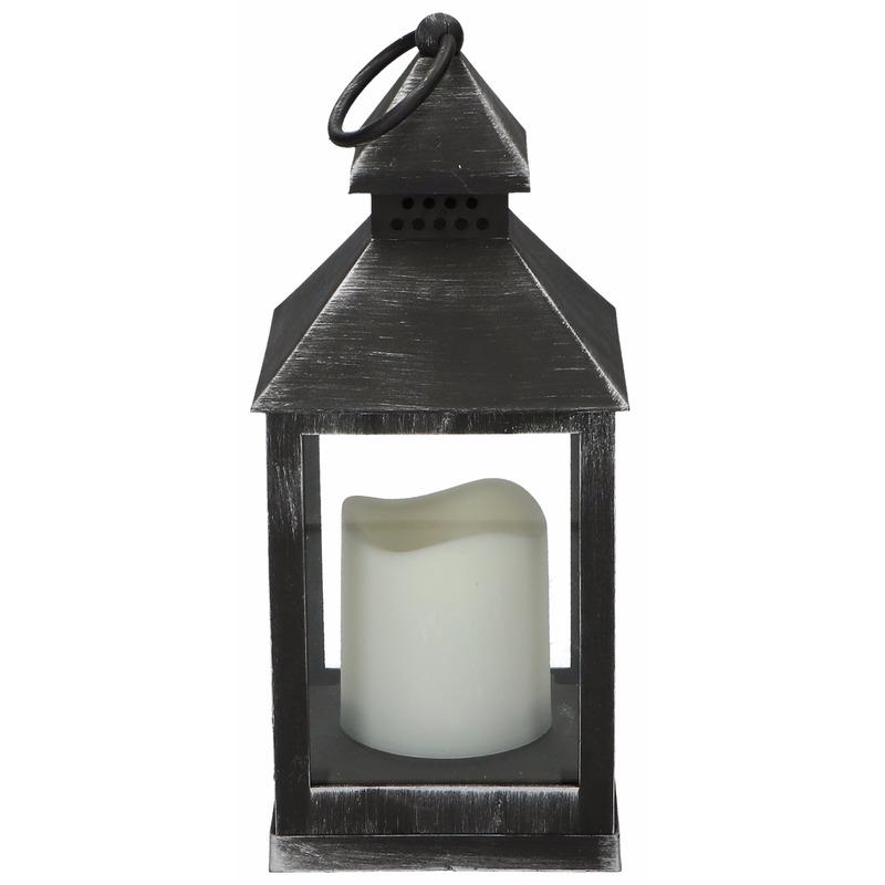 Lantaarn met LED kaars zwart 24 cm