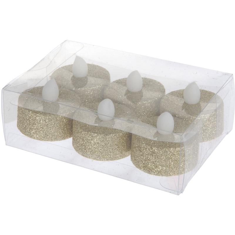 LED theelichten-waxinelichten gouden glitters 6 stuks