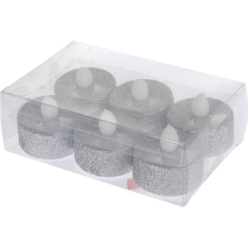 LED theelichten-waxinelichten zilver met glitters 6 stuks