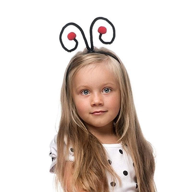 Lieveheersbeestjes diadeem voor kinderen zwart-rood