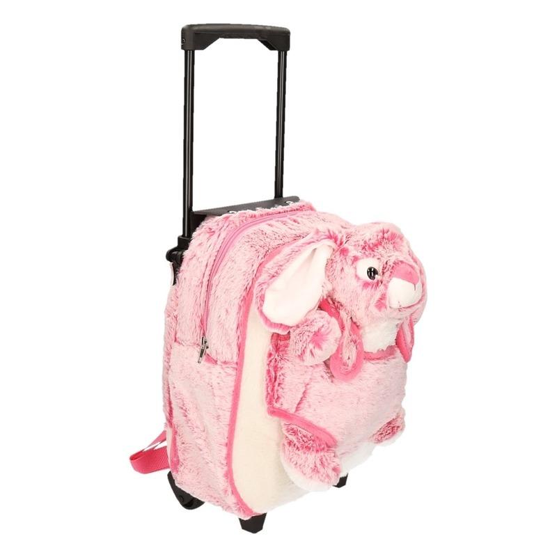 Logeer koffer-rugzakje pluche konijn-haas roze 35 cm