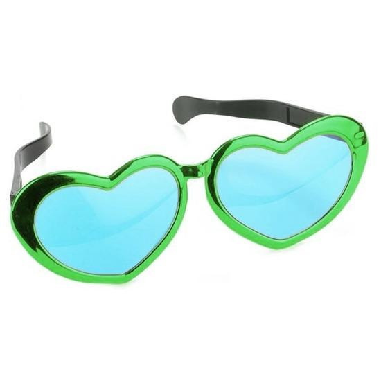 Mega groene hartjes verkleed bril 30 cm voor volwassenen