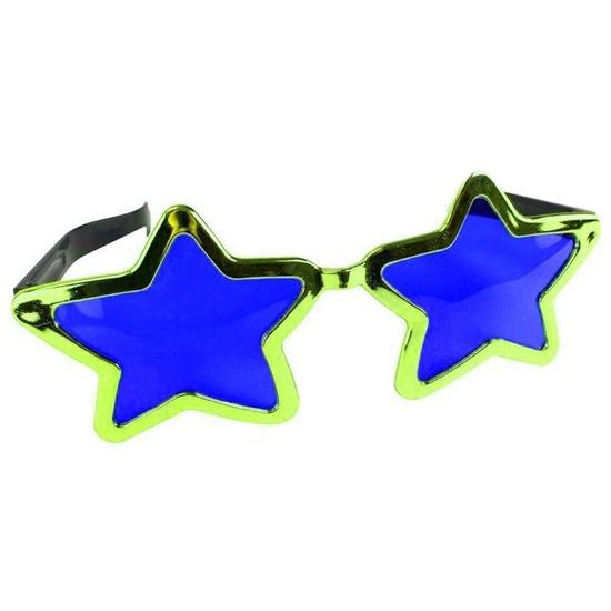 Mega groene sterren verkleed bril 30 cm voor volwassenen