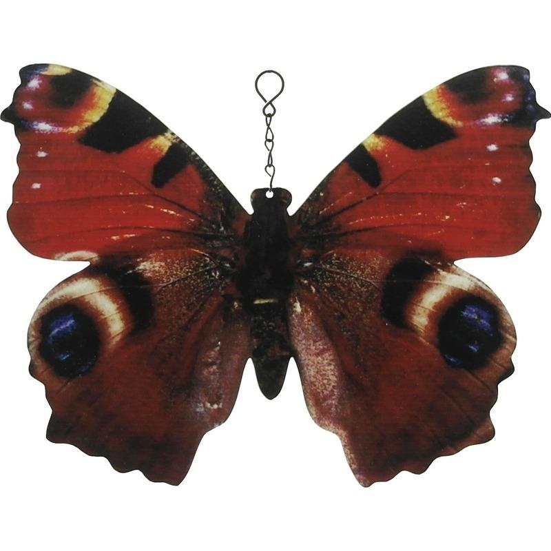 Metalen dagpauwoog vlinder bruin-zwart 20 cm tuin decoratie