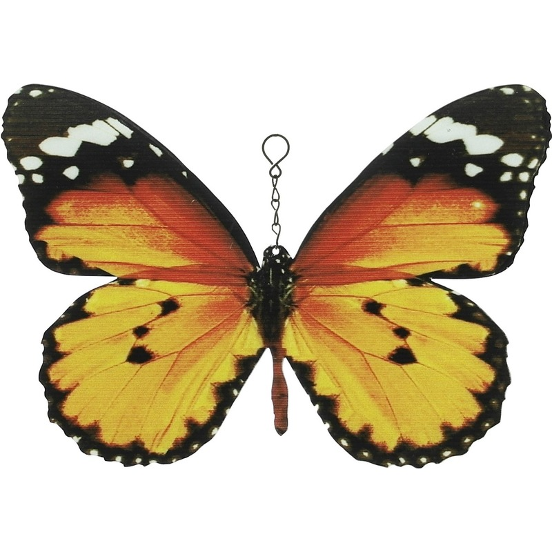 Metalen monarchvlinder oranje-zwart 20 cm tuin decoratie
