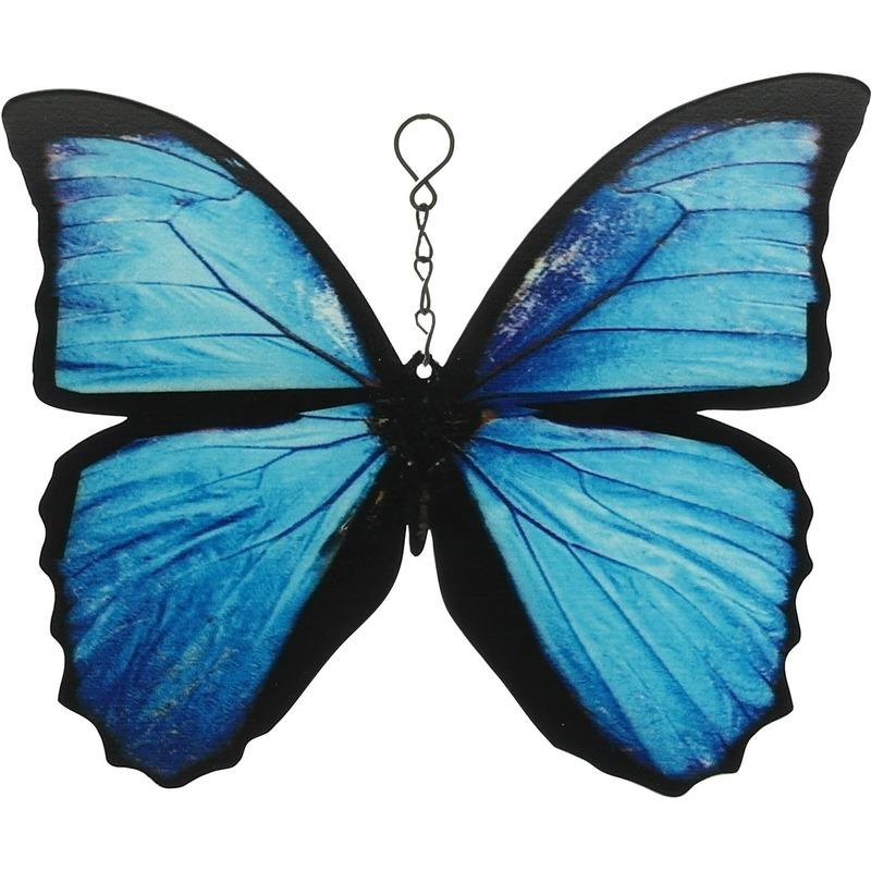 Metalen Morpho vlinder blauw-zwart 20 cm tuin decoratie