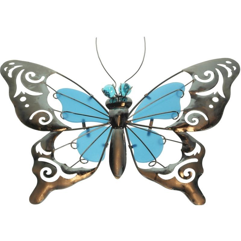 Metalen vlinder blauw 35 cm glow in the dark tuin decoratie