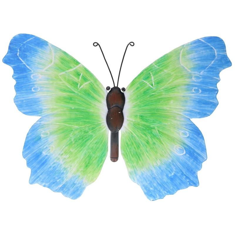 Metalen vlinder blauw-groen 40 cm tuin decoratie