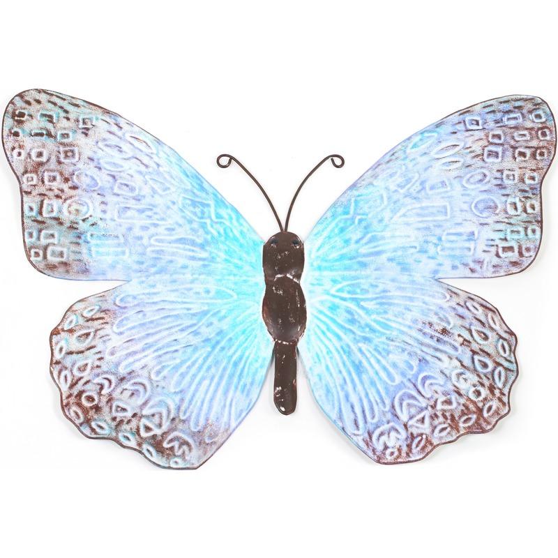 Metalen vlinder blauw-zwart 39 cm tuin decoratie