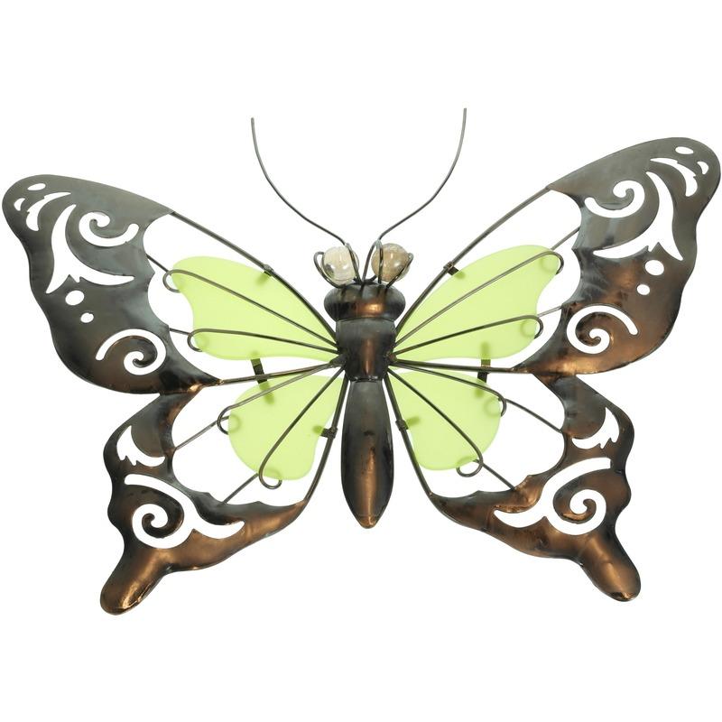 Metalen vlinder geel-groen 35 cm glow in the dark tuin decoratie