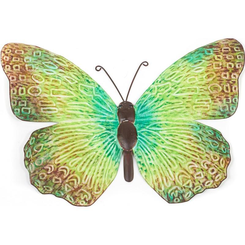 Metalen vlinder groen-zwart 39 cm tuin decoratie