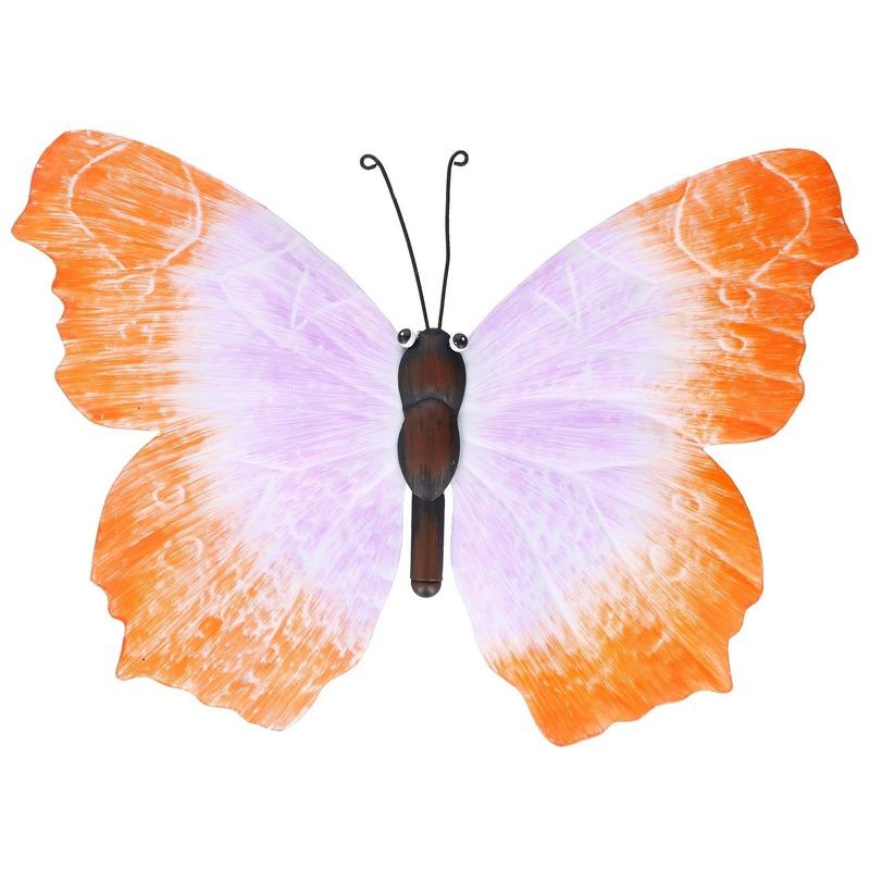 Metalen vlinder oranje-lila 40 cm tuin decoratie