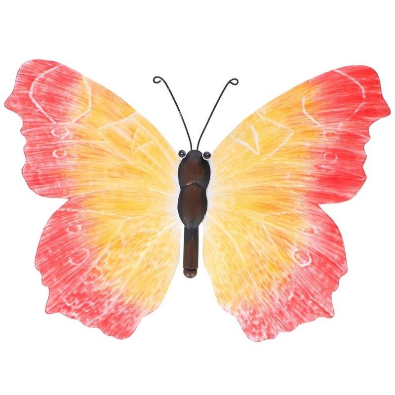Metalen vlinder oranje-rood 40 cm tuin decoratie