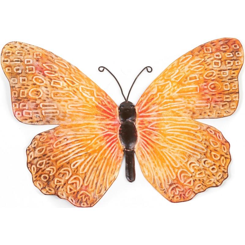 Metalen vlinder oranje-zwart 39 cm tuin decoratie