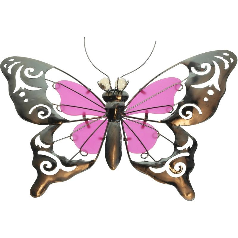 Metalen vlinder roze 35 cm glow in the dark tuin decoratie