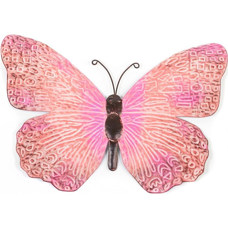 Metalen vlinder roze-zwart 39 cm tuin decoratie
