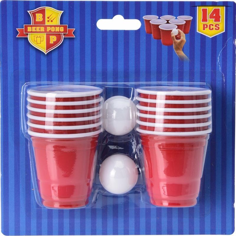 Mini game drankspellen beerpong 14 delig
