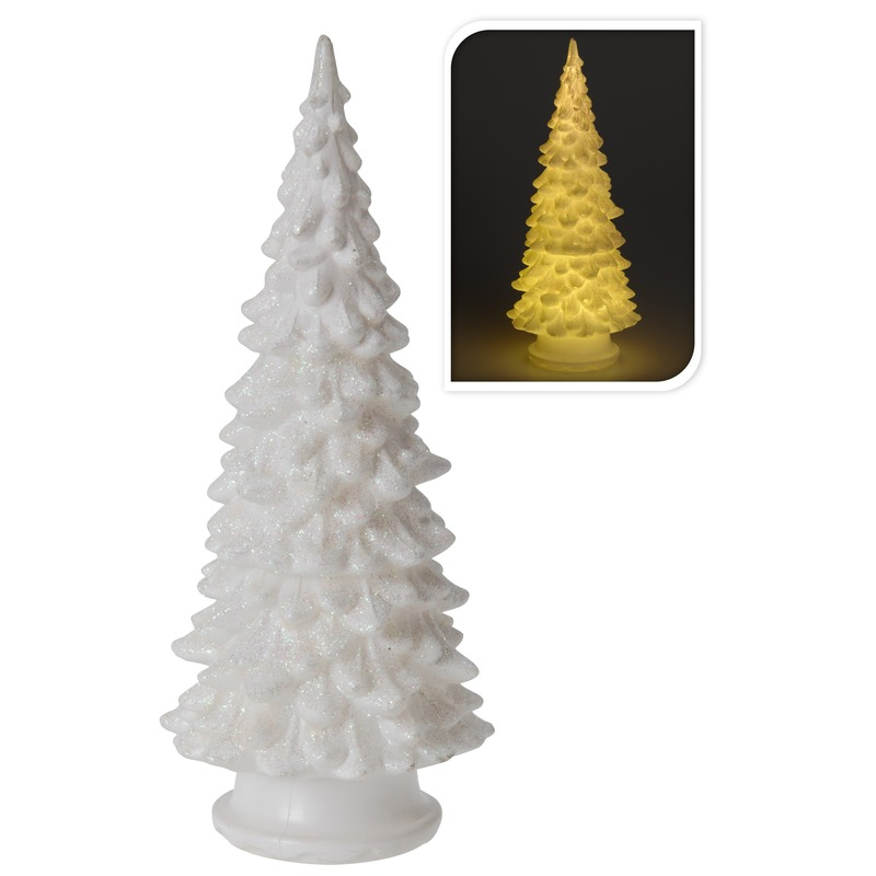 Mini LED kunst glitter kerstboompje 20 cm
