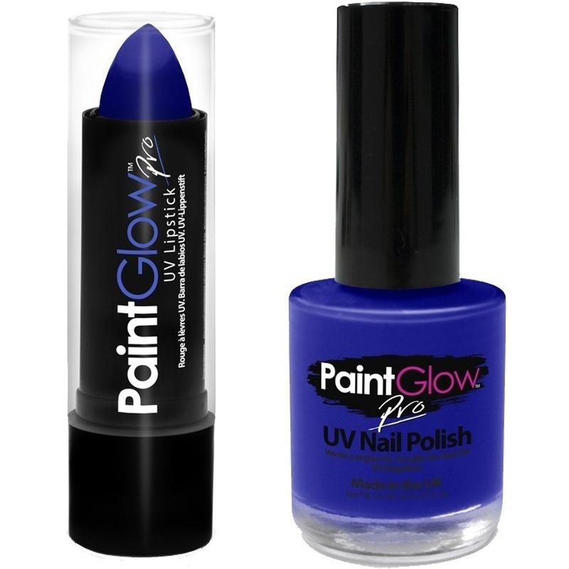 Neon blauwe UV lippenstift-lipstick en nagellak schmink set