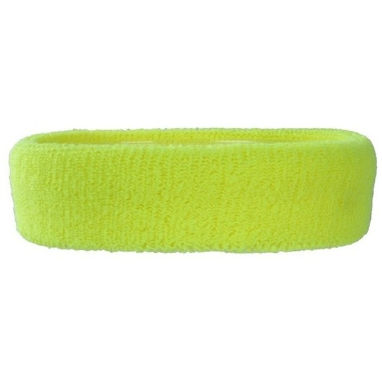 Neon gele hoofd zweetband voor volwassenen