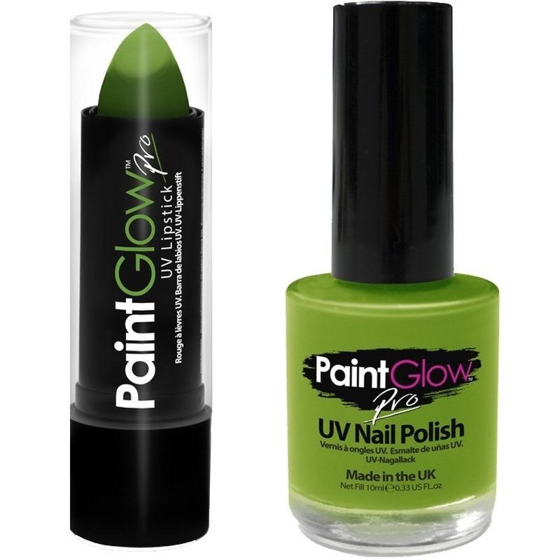 Neon groene UV lippenstift-lipstick en nagellak schmink set
