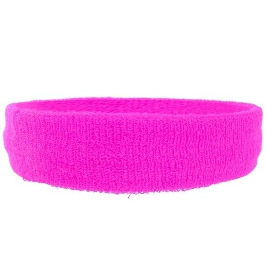 Neon roze hoofd zweetband voor volwassenen