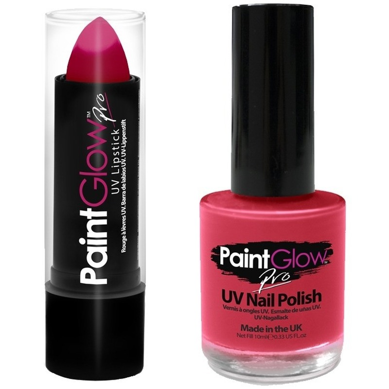 Neon roze UV lippenstift-lipstick en nagellak schmink set