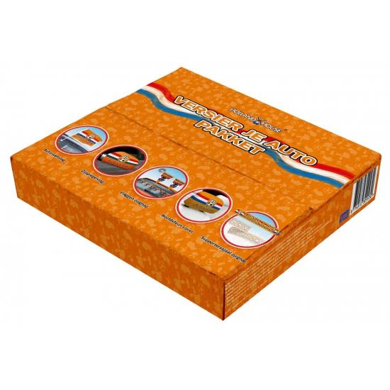 Oranje pakket met decoratie voor de auto