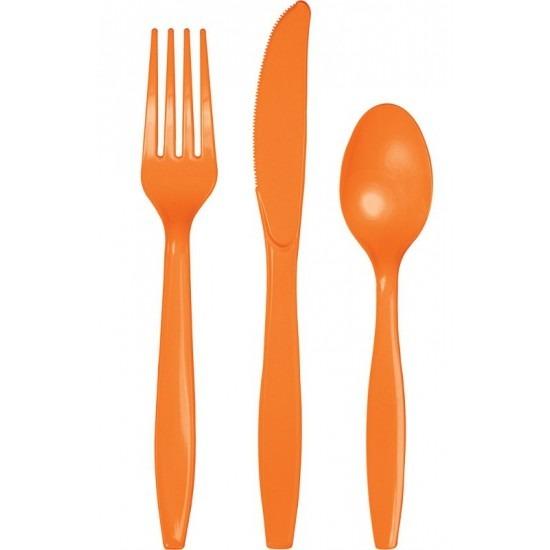 Oranje plastic bestek 48-delig