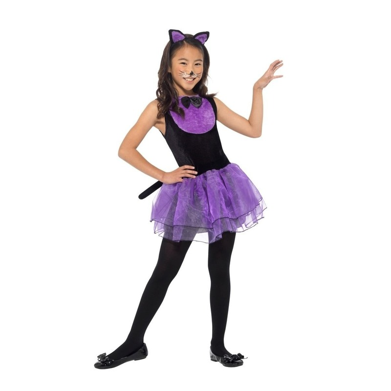 Paars-zwarte kat-poes kostuum voor meiden