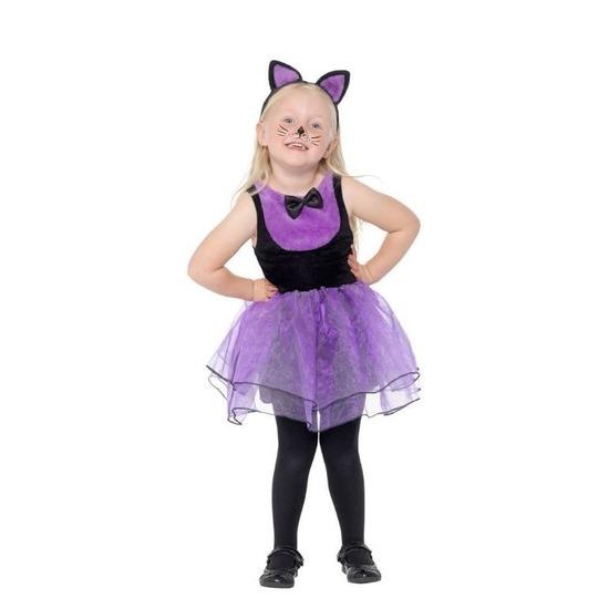 Paars-zwarte kat-poes kostuum voor peuters
