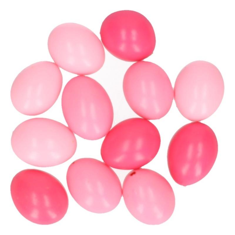 Paasdecoratie kippen eieren roze 12 stuks