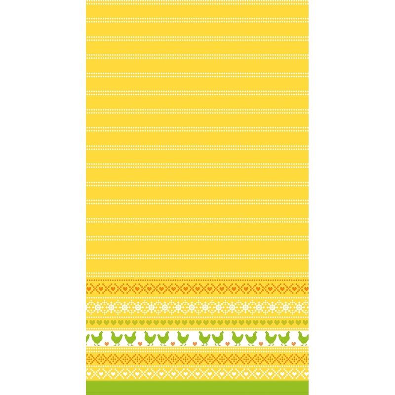 Pasen tafelkleed-tafellaken kippen geel-oranje 138 x 220 cm