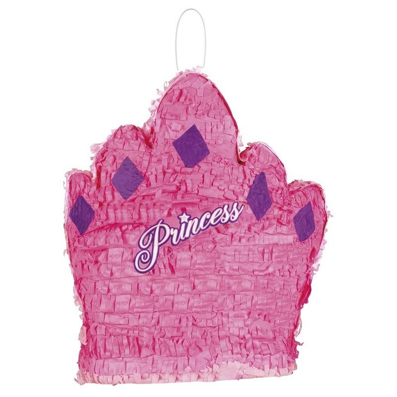 Pinata roze prinsessenkroon 41 cm
