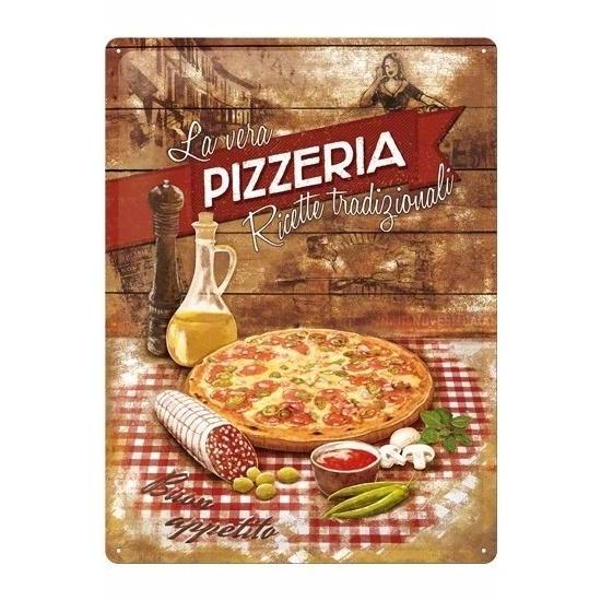 Pizza decoratie metalen bord 30 x 40 cm