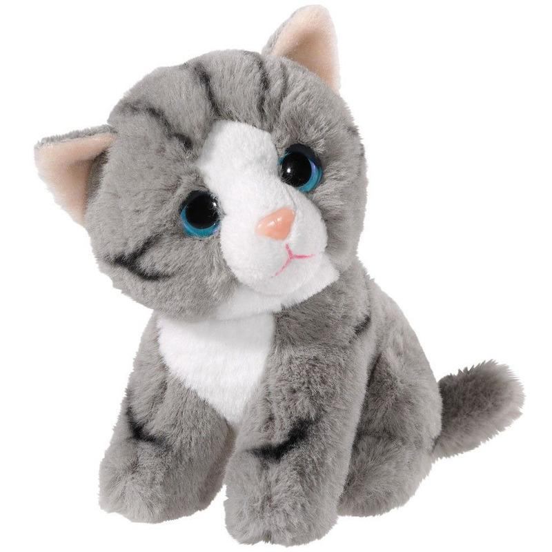 Pluche grijze kat-poes knuffel 14 cm speelgoed