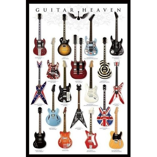 Poster gitaren muziek thema 61 x 91 cm wanddecoratie