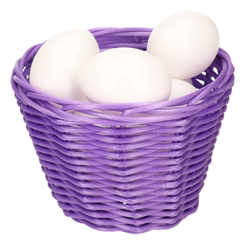 Purple Easter basket with white plastic eggs 14cm