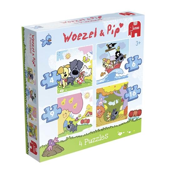 Puzzelset 4 stuks Woezel en Pip