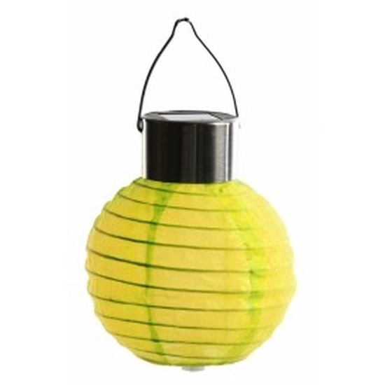 Ronde solar party lampion geel 10 cm